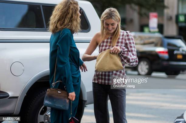 Camille Charriere wearing checked top seen in the streets of Manhattan outside Sies Marjan during New York Fashion Week on September 10 2017 in New...