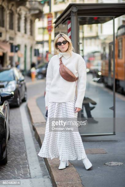 Camille Charriere wearing white knit white skirt is seen outside Philosophy during Milan Fashion Week Spring/Summer 2018 on September 23 2017 in...