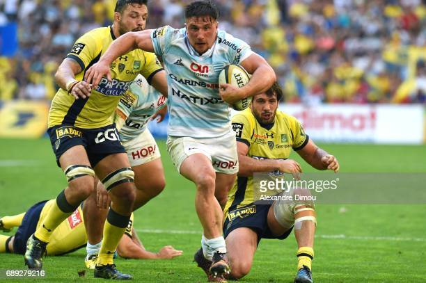 Camille Chat of Racing and Damien Chouly and Remi Lamerat of Clermont during the Top 14 semi final match between Racing 92 and Clermont Auvergne at...