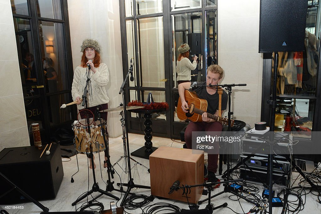 Camille Faure and Robin Faure from the Black Lilys band perform during The Burgundy Hotel Compilation CD Launch Party on November 26, 2013 in Paris, France.