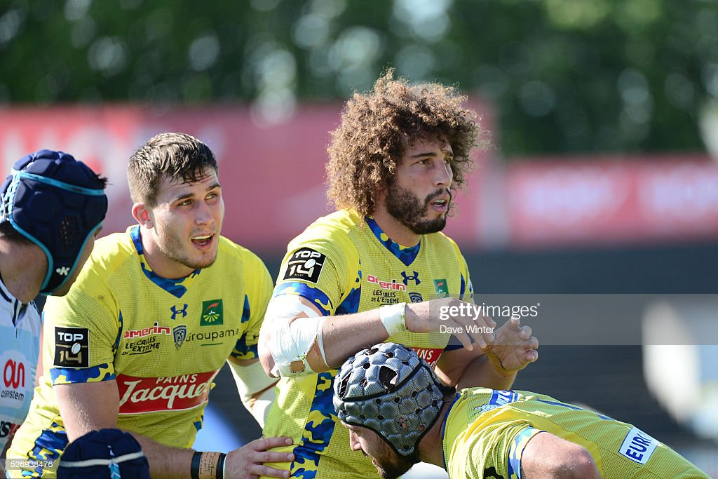 Camille Gerondeau and Paul Jedrasiak of Clermont during the French Top 14 rugby union match between Racing 92 v Clermont at Stade Yves Du Manoir on May 1, 2016 in Colombes, France.