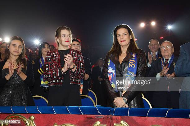 Camille Gottlieb and Princess Stephanie of Monaco attend the 39th International Monte Carlo Circus Festival on January 17 2015 in Monaco Monaco