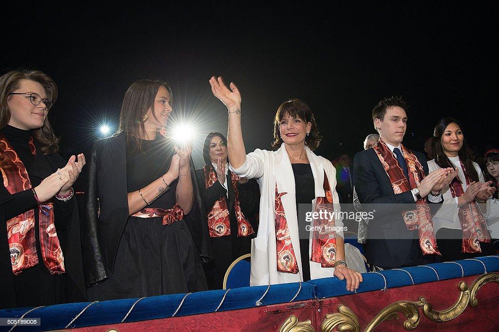 Camille Gottlieb, Pauline Ducruet Princess Stephanie of Monaco and Louis Ducruet attend the 40th International Circus Festival on January 15, 2016 in Monaco, Monaco.