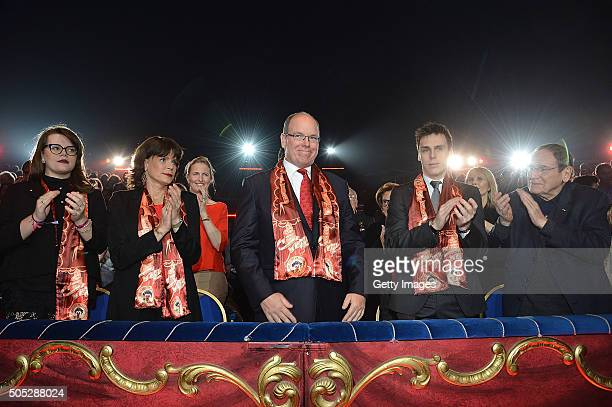 Camille Gottlieb Princess Stephanie of Monaco Prince Albert II of Monaco Louis Ducruet and Robert Hossein attend the 40th International Circus...