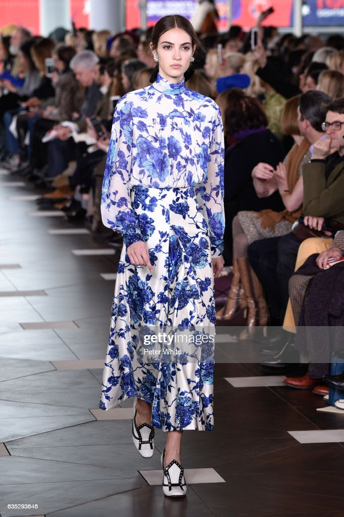 Camille Hurel walks the runway at the Tory Burch FW17 Show during New York Fashion Week at at The Whitney Museum of American Art on February 14, 2017 in New York City.