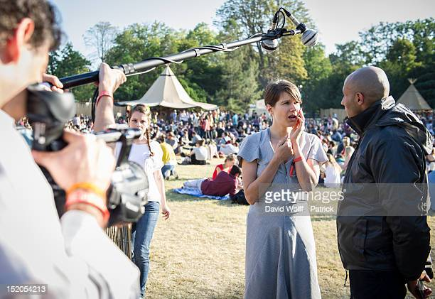 Camille is chatting with the audience at We Love Green Festival at Parc de Bagatelle on September 15 2012 in Paris France