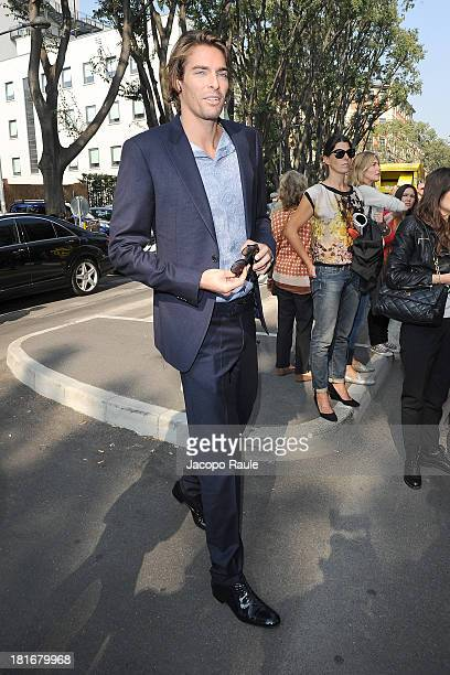 Camille Lacourt arrives at the Giorgio Armani show as a part of Milan Fashion Week Womenswear Spring/Summer 2014 at on September 23 2013 in Milan...