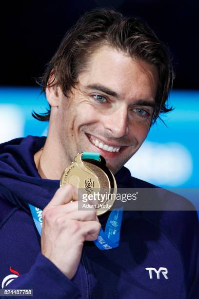 Camille Lacourt of France celebrates his gold medal in the Men's 50m Backstroke Final on day seventeen of the Budapest 2017 FINA World Championships...