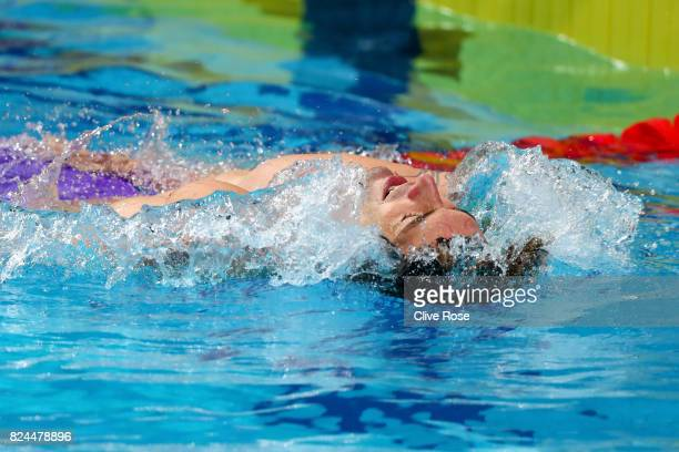 Camille Lacourt of France celebrates victory in the Men's 50m Backstroke Final on day seventeen of the Budapest 2017 FINA World Championships on July...