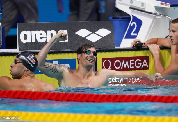 Camille Lacourt of France celebrates victory in the Men's 50m Backstroke final during day seventeen of the FINA World Championships at the Duna Arena...