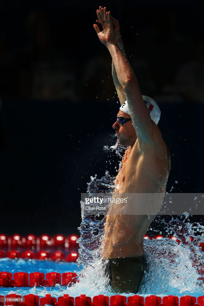 Camille Lacourt of France competes during the Swimming Men's 100m Backstroke Final on day eleven of the 15th FINA World Championships at Palau Sant Jordi on July 30, 2013 in Barcelona, Spain.