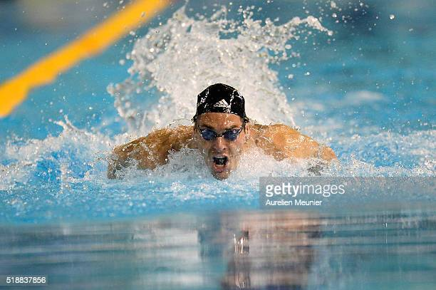 Camille Lacourt of France competes in the 100m Men's butterfly on day six of the French National Swimming Championships on April 03 2016 in...