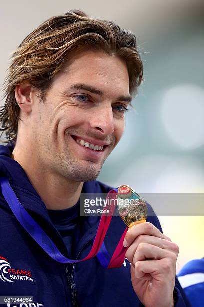 Camille Lacourt of France poses with his Gold medal after winning the Men's 100m Backstroke Final on day nine of the 33rd LEN European Swimming...