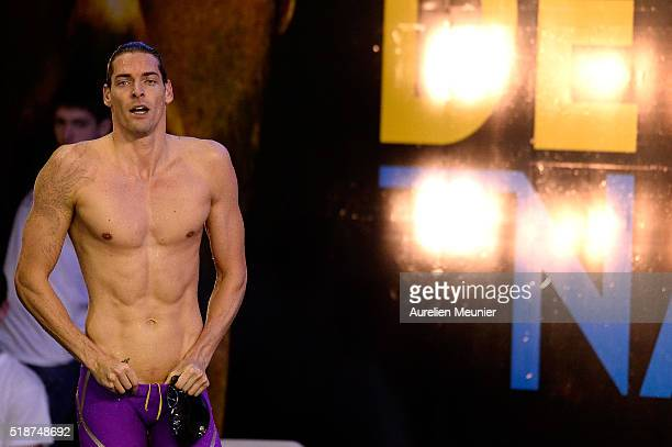 Camille Lacourt of France reacts after his victory in the 100m Men's backstroke on day five of the French National Swimming Championships on April 02...