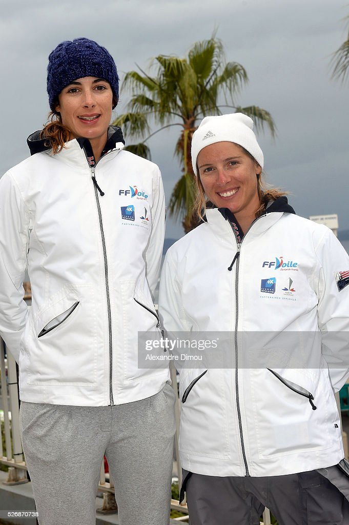 Camille LECOINTRE and Helene Defrance of France compete in the Laser race boat during the Sailing World Cup on May 1, 2016 in Hyeres, France.