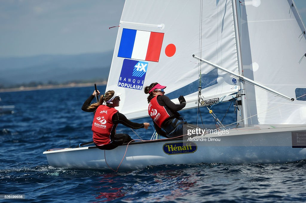 Camille Lecointre and Helene Defrance of France compete in the women's race boat 470 during the Sailing World Cup on April 30, 2016 in Hyeres, France.