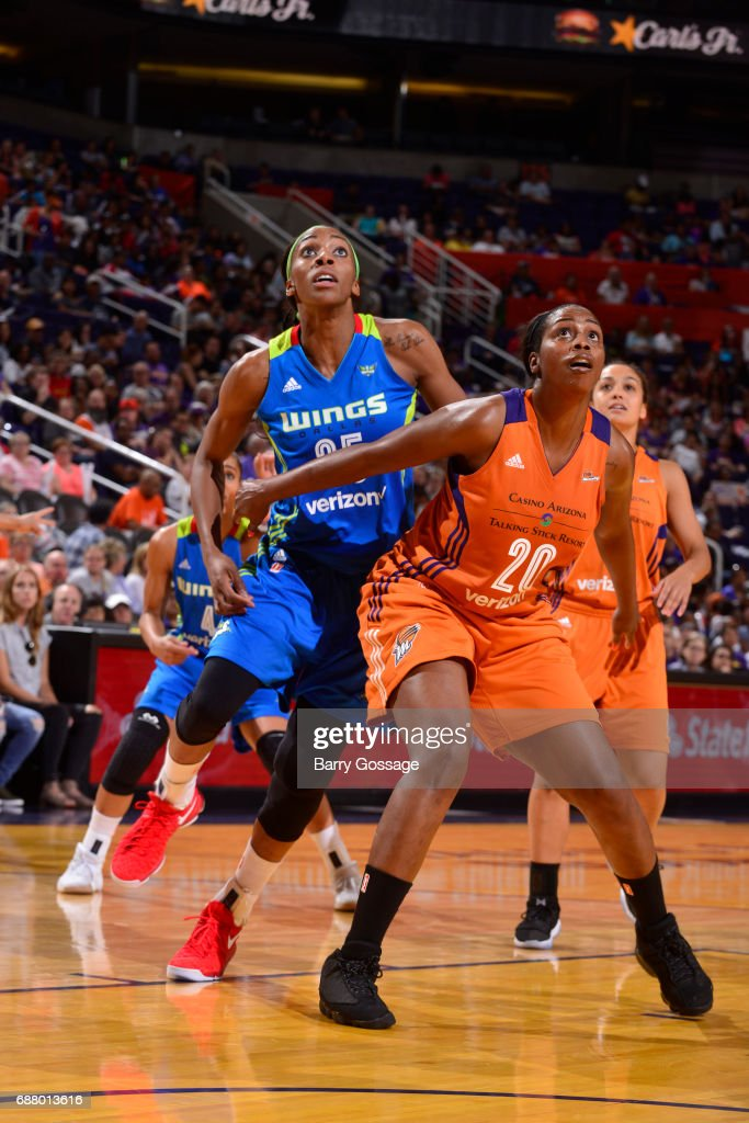 Camille Little #20 of the Phoenix Mercury boxes out against the Dallas Wings on May 14, 2017 at Talking Stick Resort Arena in Phoenix, Arizona.