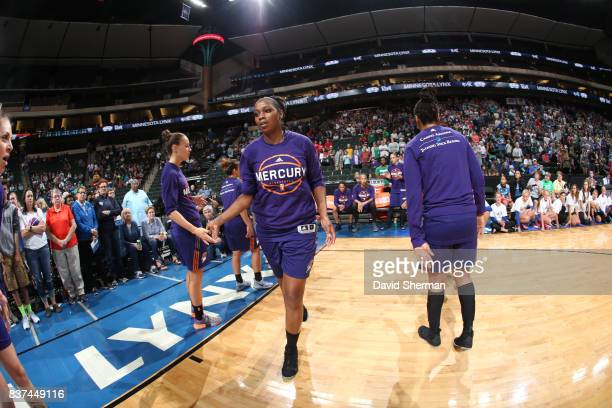 Camille Little of the Phoenix Mercury gets introduced before the game against the Minnesota Lynx on August 22 2017 at Xcel Energy Center in St Paul...