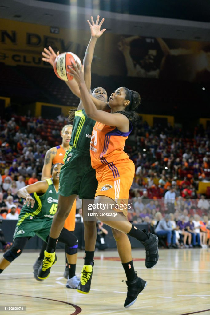 Camille Little #20 of the Phoenix Mercury goes for a lay up during the game against the Seattle Storm in Round One of the 2017 WNBA Playoffs on September 6, 2017 at Arizona State University Wells Fargo Arena in Tempe, Arizona.
