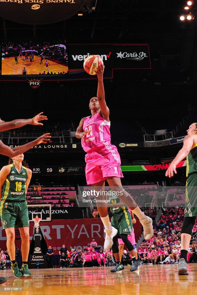 Camille Little #20 of the Phoenix Mercury shoots the ball during the game against the Seattle Storm on August 12, 2017 at Talking Stick Resort Arena in Phoenix, Arizona.