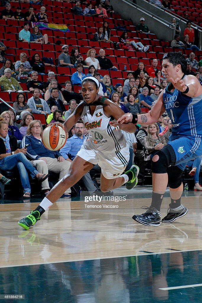 <a gi-track='captionPersonalityLinkClicked' href=/galleries/search?phrase=Camille+Little&family=editorial&specificpeople=707865 ng-click='$event.stopPropagation()'>Camille Little</a> #20 of the Seattle Storm drives against the Minnesota Lynx on June 27, 2014 at Key Arena in Seattle, Washington.