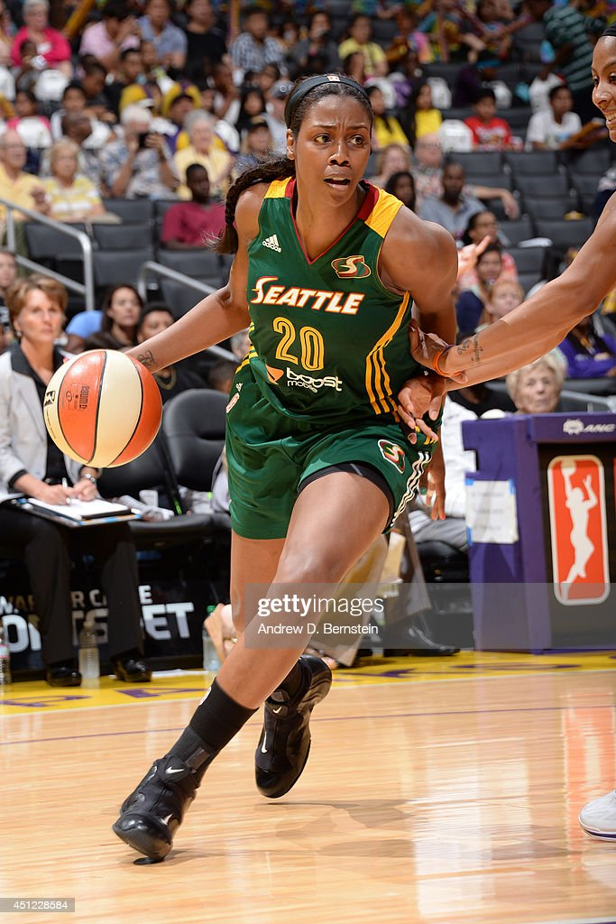 <a gi-track='captionPersonalityLinkClicked' href=/galleries/search?phrase=Camille+Little&family=editorial&specificpeople=707865 ng-click='$event.stopPropagation()'>Camille Little</a> #20 of the Seattle Storm drives to the basket against the Los Angeles Sparks at STAPLES Center on June 24, 2014 in Los Angeles, California.