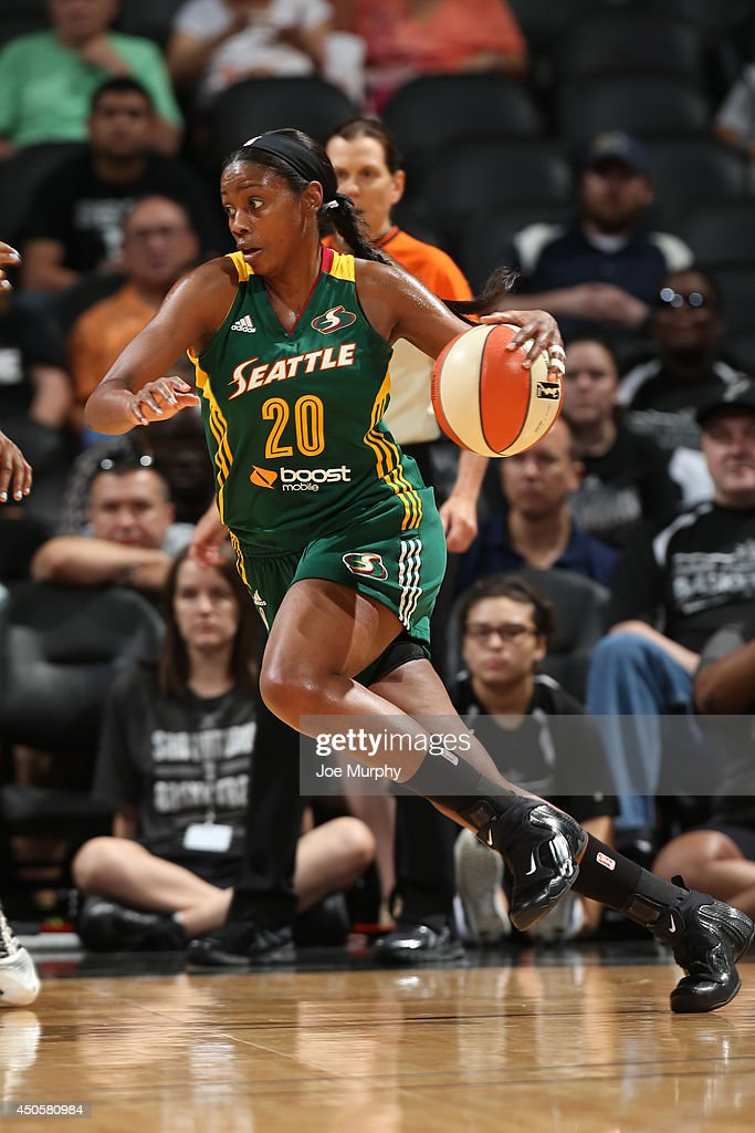 <a gi-track='captionPersonalityLinkClicked' href=/galleries/search?phrase=Camille+Little&family=editorial&specificpeople=707865 ng-click='$event.stopPropagation()'>Camille Little</a> #20 of the Seattle Storm drives to the basket during a game against the San Antonio Stars at AT&T Center on June 13, 2014 in San Antonio, Texas.