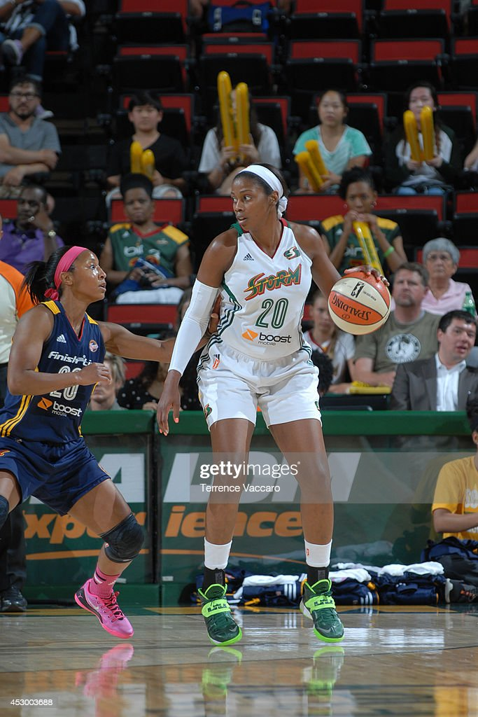 <a gi-track='captionPersonalityLinkClicked' href=/galleries/search?phrase=Camille+Little&family=editorial&specificpeople=707865 ng-click='$event.stopPropagation()'>Camille Little</a> #20 of the Seattle Storm handles the ball against the Indiana Fever on July 31,2014 at Key Arena in Seattle, Washington.