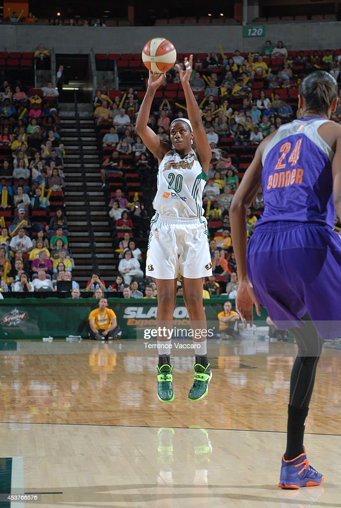 Camille Little #20 of the Seattle Storm looks shoots against the Phoenix Mercury during the game on August 17, 2014 at Key Arena in Seattle, Washington.