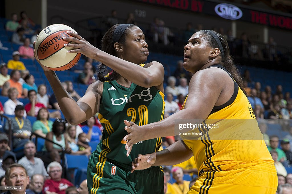 <a gi-track='captionPersonalityLinkClicked' href=/galleries/search?phrase=Camille+Little&family=editorial&specificpeople=707865 ng-click='$event.stopPropagation()'>Camille Little</a> #20 of the Seattle Storm reacts to pressure by <a gi-track='captionPersonalityLinkClicked' href=/galleries/search?phrase=Courtney+Paris&family=editorial&specificpeople=4457244 ng-click='$event.stopPropagation()'>Courtney Paris</a> #3 of the Tulsa Shock during the WNBA game on June 22, 2013 at the BOK Center in Tulsa, Oklahoma.