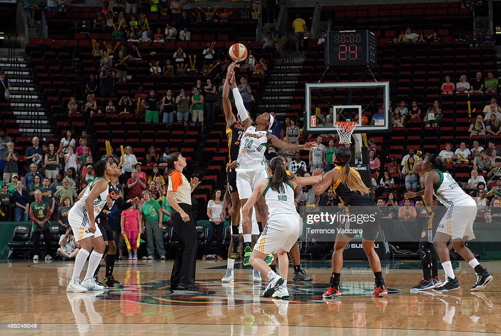 <a gi-track='captionPersonalityLinkClicked' href=/galleries/search?phrase=Camille+Little&family=editorial&specificpeople=707865 ng-click='$event.stopPropagation()'>Camille Little</a> #20 of the Seattle Storm tips off against the Tulsa Shock during the game on August 10,2014 at Key Arena in Seattle, Washington.