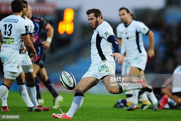 Camille Lopez of ASM Clermont Auvergne clears the ball during the European Rugby Champions Cup match between Exeter Chiefs and ASM Clermont Auvergne...