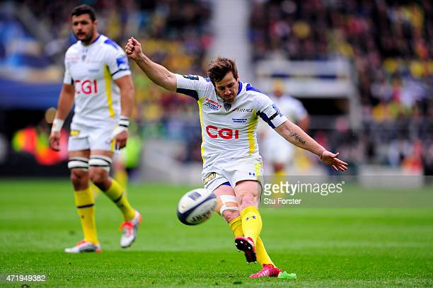 Camille Lopez of Clermont licks a penalty during the European Rugby Champions Cup Final match between ASM Clermont Auvergne and RC Toulon at...