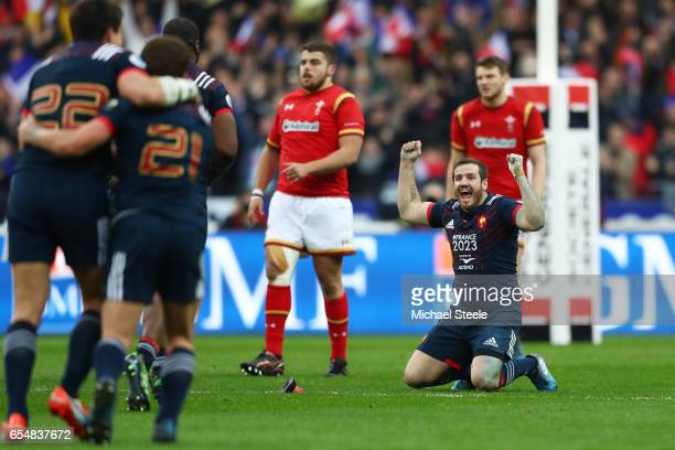 Camille Lopez of France celebrates after kicking the match winning coversion deep in injury time during the RBS Six Nations match between France and...