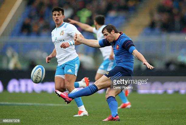 Camille Lopez of France clears the ball downfield during the RBS Six Nations match between Italy and France at the Stadio Olimpico on March 15 2015...