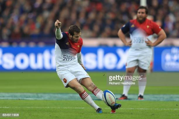 Camille Lopez of France kicks a penalty during the RBS Six Nations match between France and Scotland at Stade de France on February 12 2017 in Paris...