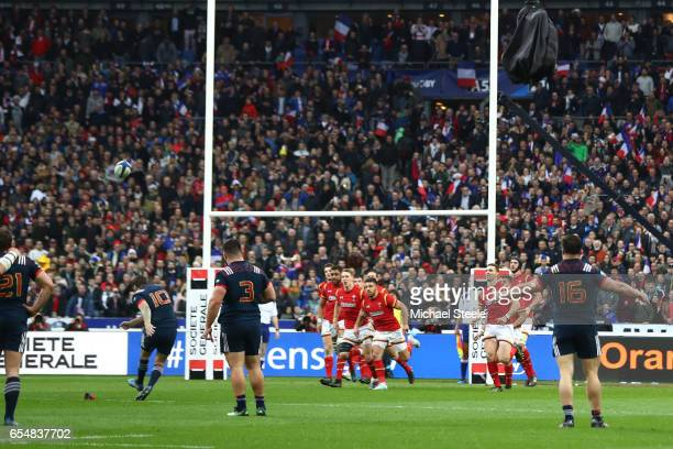Camille Lopez of France kicks the match winning coversion deep in injury time during the RBS Six Nations match between France and Wales at the Stade...