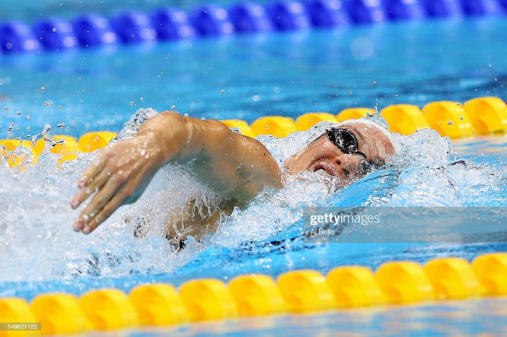 Camille Muffat of France competes in heat 4 of the Women's 200m Freestyle on Day 3 of the London 2012 Olympic Games at the Aquatics Centre on July 30...