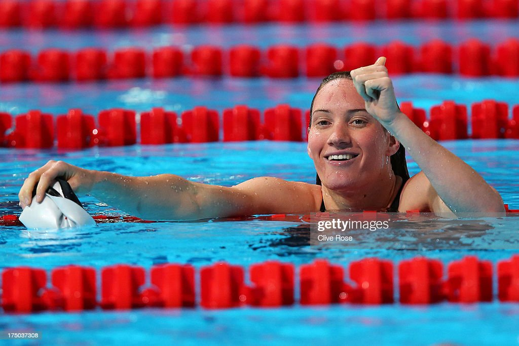 <a gi-track='captionPersonalityLinkClicked' href=/galleries/search?phrase=Camille+Muffat&family=editorial&specificpeople=596271 ng-click='$event.stopPropagation()'>Camille Muffat</a> of France reacts after the Swimming Women's 200m Freestyle preliminaries heat five on day eleven of the 15th FINA World Championships at Palau Sant Jordi on July 30, 2013 in Barcelona, Spain.