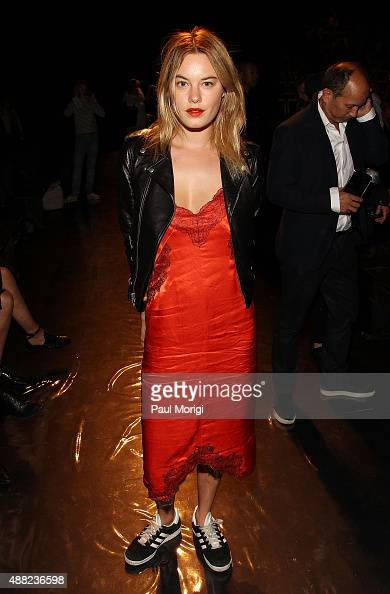 Camille Rowe attends the rag bone Spring 2016 fashion show during New York Fashion Week at St Ann's Warehouse on September 14 2015 in New York City