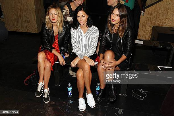 Camille Rowe Leigh Lezark and Atlanta de Cadenet Taylor attend the rag bone Spring 2016 fashion show during New York Fashion Week at St Ann's...