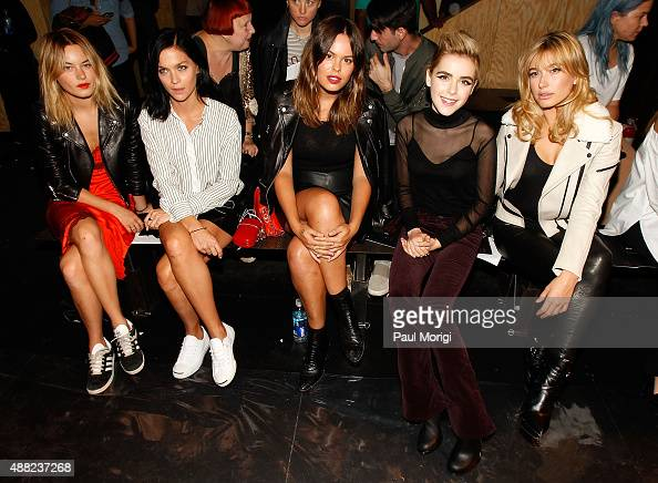 Camille Rowe Leigh Lezark Atlanta de Cadenet Taylor Kiernan Shipka and Hailey Baldwin attend the rag bone Spring 2016 fashion show during New York...