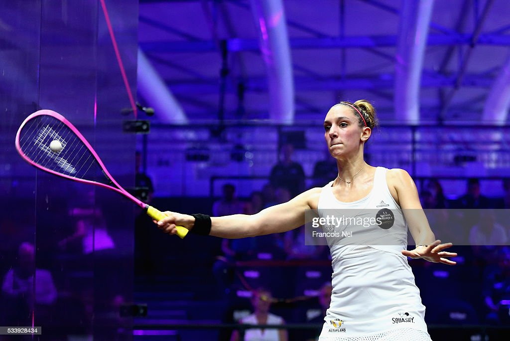 Camille Serme of France competes against Omneya Abdel Kawy of Egypt during day one of the PSA Dubai World Series Finals 2016 at Burj Park on May 24, 2016 in Dubai, United Arab Emirates.
