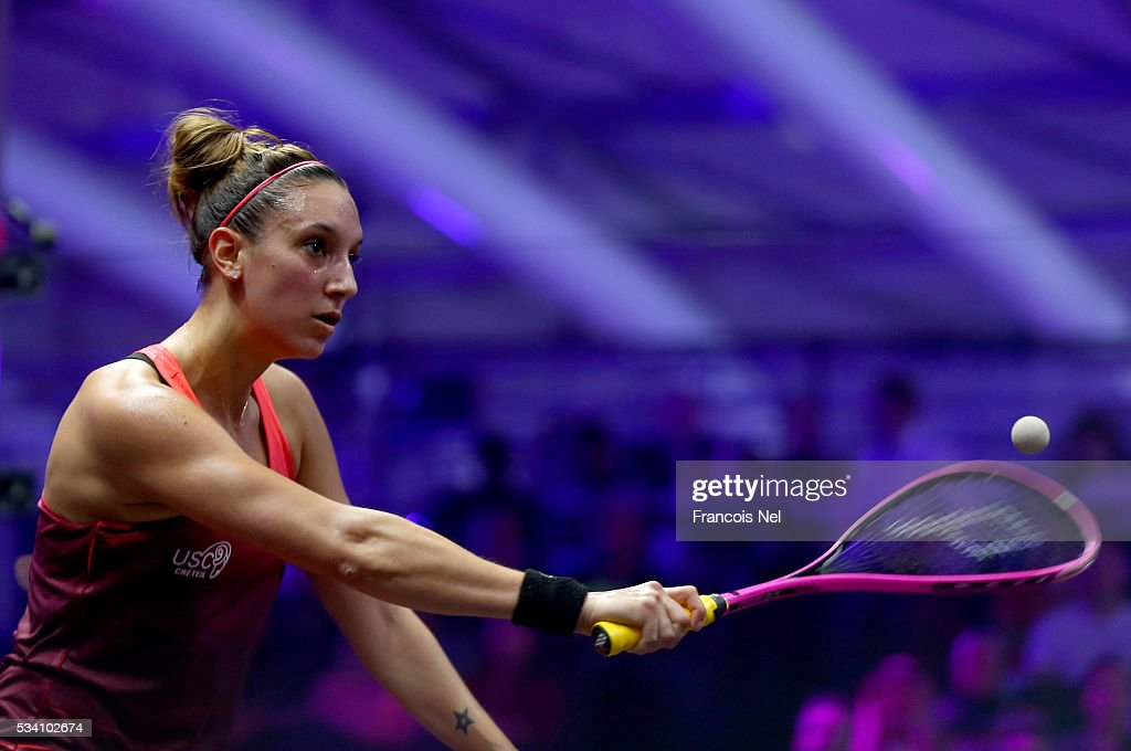Camille Serme of France in action against Raneem El Welily of Egypt during day two of the PSA Dubai World Series Finals 2016 at Burj Park on May 25, 2016 in Dubai, United Arab Emirates.