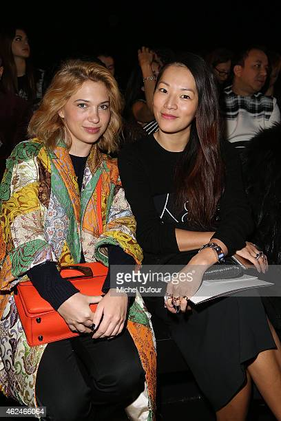 Camille Seydoux and Tina Leung attend the Zuhair Murad show as part of Paris Fashion Week Haute Couture Spring/Summer 2015 on January 29 2015 in...