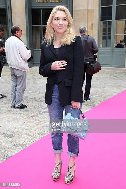 Camille Seydoux arrives at the Schiaparelli Haute Couture Fall/Winter 20162017 show as part of Paris Fashion Week on July 4 2016 in Paris France