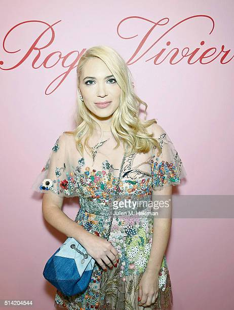 Camille Seydoux attends the Roger Vivier Prismick Denim Party at Rue Du Faubourg SaintHonoré on March 7 2016 in Paris France