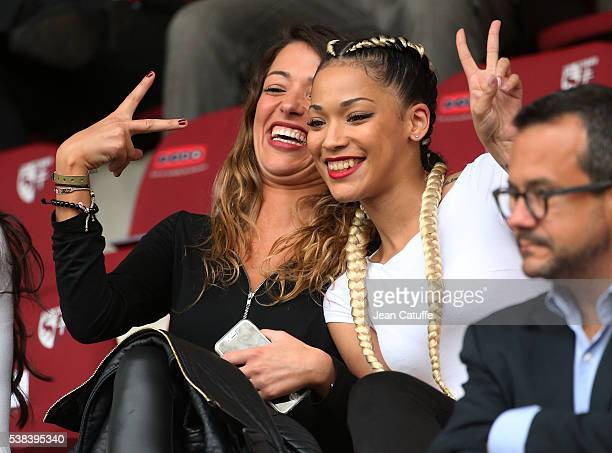 Camille Sold girlriend of Morgan Schneiderlin of France Sephora Coman wife of Kingsley Coman attend the international friendly match between France...