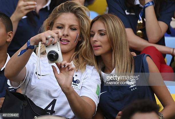 Camille Tytgat girlfriend of France's defender Raphael Varane watches during a Group E football match between Ecuador and France at the Maracana...