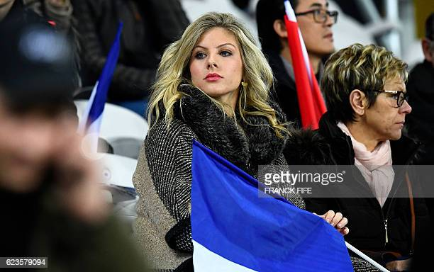 Camille Tytgat Varane wife of France's defender Raphael Varane is pictured during the friendly football match France vs Ivory Coast on November 15...